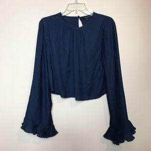Walter Baker Blue Crop Top, Pleated Bell Sleeve